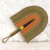 Raffia fan, 'African Comfort' - Handwoven Multicolored Raffia Fan from Ghana