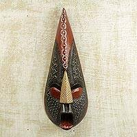 African wood mask, 'Abotare' - Handmade West African Sese Wood Mask and Aluminum Plating