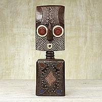African wood sculpture, 'Ahomka Mask' - Ghanaian Sese Wood Mask Sculpture with Aluminum Plating