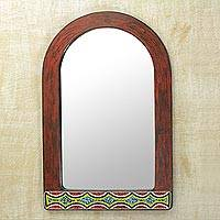 Wood wall mirror, 'Colorful Arch' - Wood and Recycled Glass Beaded Mirror by Ghanaian Artisans