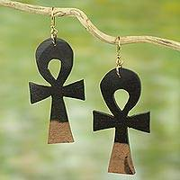 Ebony wood dangle earrings, 'Life Ankhs' - Ebony Wood Ankh Cross Dangle Earrings from Ghana