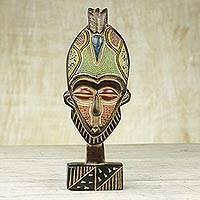 African wood mask, 'My Own' - Handcrafted Ghanaian Sese Wood Mask with Recycled Beads