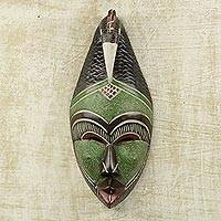 African wood mask, 'Peaceful Hen' - Handcrafted Painted Sese Wood Wall Mask from Ghana