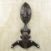 Wood coat rack, 'United Strength' - Aluminum and Sese Wood African Mask Coat Rack from Ghana