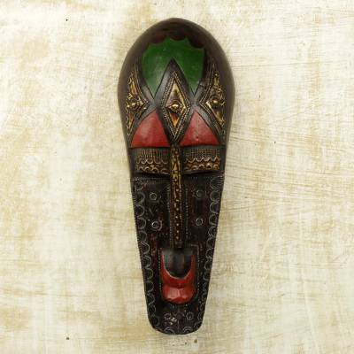 African wood mask, 'Bambara Portrait' - African Wood Wall Mask of Bambara Portrait Crafted by Hand