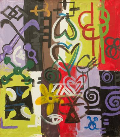 Abstract Painting of West African Adinkra Symbols