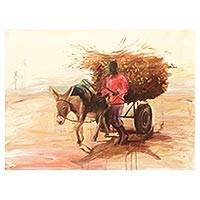 'The Harvest' - Signed Ghanaian Impressionist Painting of a Man and Donkey