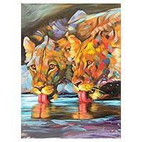 'Refreshing' - Signed Impressionist Painting of Two Lions from Ghana