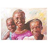 'Ready, Study, Smile' - Signed Impressionist Painting of Three Children from Ghana