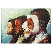 'Festive Mood' - Signed Impressionist Painting of Children from Ghana
