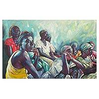 'The Affairs of Women' - Signed Impressionist Painting of Women from Ghana
