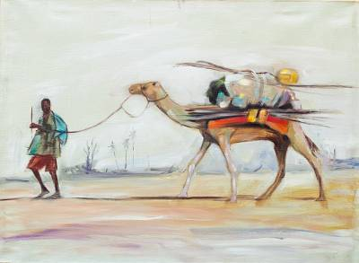 'Homeward' - Signed Impressionist Painting of a Man with a Camel