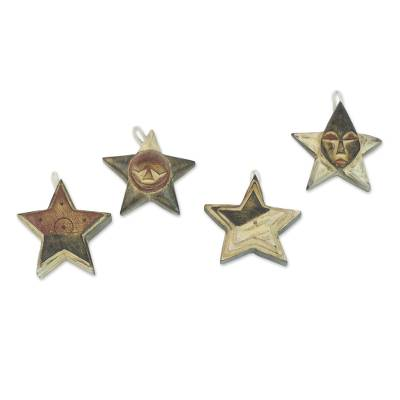 Wood ornaments, 'Nsruma Sophistication' (set of 4) - Four Sese Wood Star Ornaments in Black Red and White