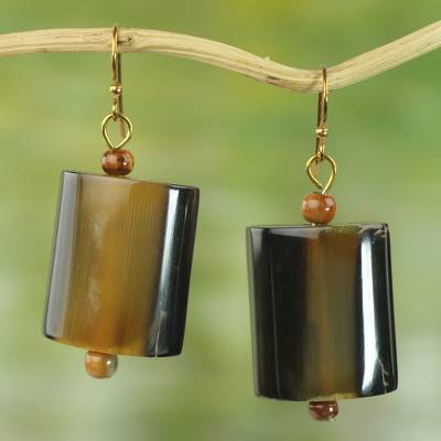 Horn dangle earrings, 'Bold Path' - Hand Crafted Horn Dangle Earrings from West Africa