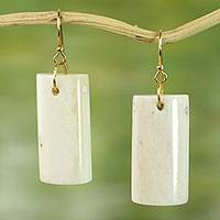 Bone dangle earrings, 'Afterglow' - Hand Crafted Cow Bone Dangle Earrings from West Africa