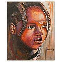 'Himba Girl' - Signed Realist Portrait Painting of a Girl from Ghana