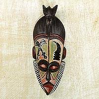 African wood mask, 'Akaoben and Akofen' - Sese Wood and Aluminum Symbolic African Mask from Ghana