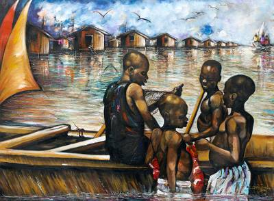 'Canoe Boys' - Original Realist Painting of Ghanaian Boys in a Fishing Boat