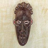 African wood mask, 'Bassa Tradition' - Handcrafted Brown Sese Wood African Mask from Ghana