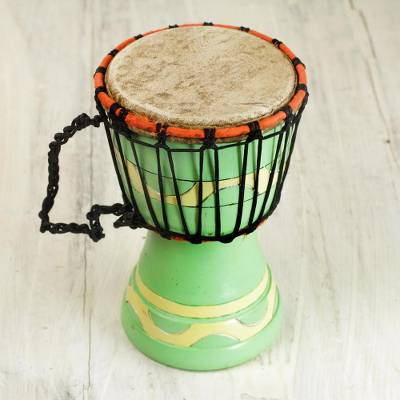 Wood mini djembe drum, 'Musical Mint' - Artisan Crafted Authentic African Mini Djembe Drum