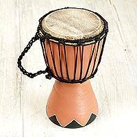 Wood mini djembe drum, 'Gather in Peace' - Artisan Crafted West African Mini Djembe Brown Drum