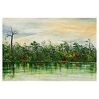 'Reflection II' - African River Scene Landscape Painting in Shades of Green
