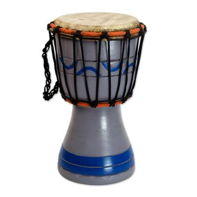 Handcrafted Grey and Blue Authentic African Mini Djembe Drum