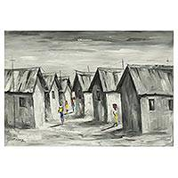 'Village Life' - Signed Impressionist Painting of a Village from Ghana