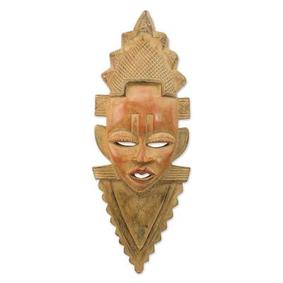 African wood mask, 'Festac Celebration' - Handcrafted Sese Wood Cultural African Mask from Ghana