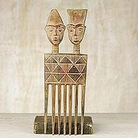 Wood wall sculpture 'Twin Comb' - Hand Carved Wood Wall Art Sculpture from Ghana