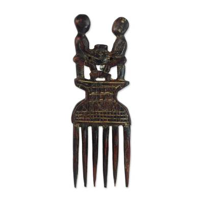 Wood wall decor, 'Adamfo Pa Comb' - Handcrafted Sese Wood Comb Wall Accent from Ghana