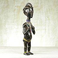 Wood sculpture, 'Ashanti Fertility Doll II' - Collectible African Wood Sculpture Ashanti Fertility Doll