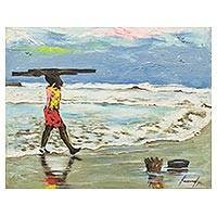 'Set Off' - Signed Painting of a Child at the Beach from Ghana