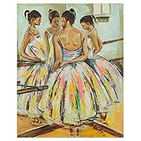 'Reflection' - Signed Impressionist Painting of a Ballerina from Ghana