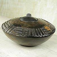 Ceramic decorative vessel, 'Adipa Saucer' - Wood-Fired Decorative Artistic Ceramic Vessel