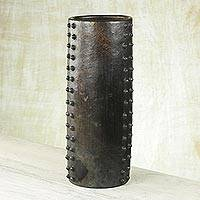 Ceramic decorative vase, 'Dotted Cylinder' - Wood-Fired Handcrafted Decorative Ceramic Vase from Ghana