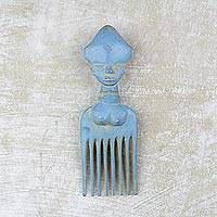 Wood wall art, 'Osele Blue' - Handcrafted Sky Blue Wood Comb-Shaped Wall Art from Ghana