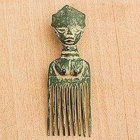 Wood wall art, 'Green Osele' - Wood Comb-Shaped Wall Art in Green from Ghana