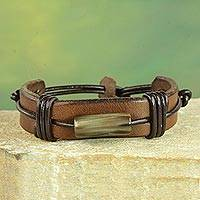 Men's leather and horn wristband bracelet, 'Bound Strength in Brown' - Men's Brown Leather Wristband Bracelet from Ghana