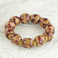 Wood beaded stretch bracelet, 'Happy Aseye' - Sese Wood and Recycled Plastic Beaded Bracelet from Ghana