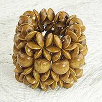 Wood beaded bracelet, 'Giving Aseda in Tan' - Handcrafted Sese Wood Beaded Bracelet in Tan from Ghana
