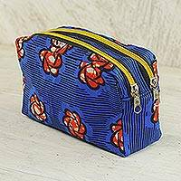 Cotton cosmetic case, 'Virtuous Obaa Sima' - Cotton Cosmetic Case in Royal Blue and Flame from Ghana