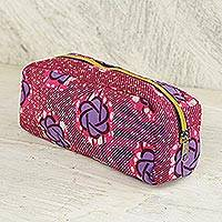 Cotton cosmetic case, 'Iris Stars' - Cotton Cosmetic Case in Ruby and Iris from Ghana