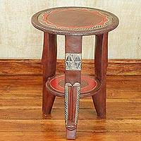 Wood accent table, 'Friendly Circle' - Handcrafted Sese Wood Red Accent Table from Ghana
