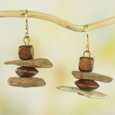 Wood and coconut shell dangle earrings, 'African Monolith' - Sese Wood Coconut Shell and Plastic Earrings from Ghana