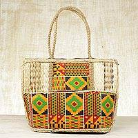 Cotton and natural fiber tote shoulder bag, 'Market Style' - Cotton and Natural Fiber Accent Shoulder Bag from Ghana