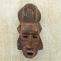 African wood mask, 'Sanga Harvest' - Hand Carved Sese Wood African Harvest Mask from Ghana