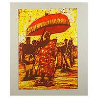Batik painting, 'Homowo Celebration' - Signed Batik on Cotton Painting of a Festival from Ghana