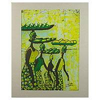 Batik painting, 'The Foursome' - Signed Batik Painting of Market Women from Ghana