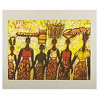 Batik painting, 'Early Morning Marketgoers' - Signed Batik Painting of Marketgoers from Ghana